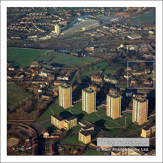 Aerial photograph of the flats at Brierley Hill