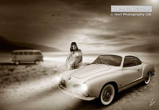 Volkswagen Karmann Ghia Digital Art Picture with Sexy Girl