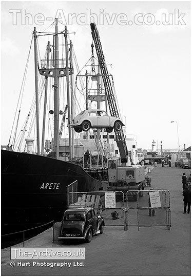 Volkswagen Beetle unloaded from a ship at Ramsgate Docks 1966