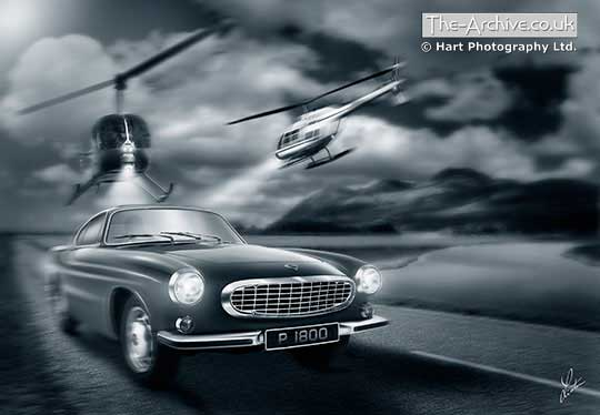 Volvo P1800 Digital Art Picture Car Chase