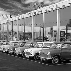 Austin Mini cars at Stour Valley Trucks, Lye, Stourbridge